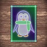 Grafika - Grafické vianočné svietidlo tučniak - šál - 7897621_