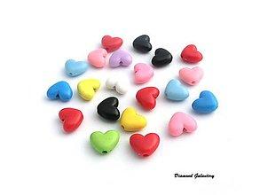 Korálky - Korálky srdiečko - Náhodný farebný mix 10 kusov - 7901821_