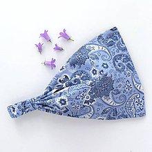 Ozdoby do vlasov - Čelenka - modrý paisley - 7904091_