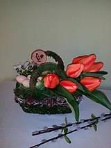 Dekorácie - Tulipány v taške - 7901503_