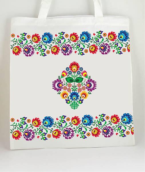 Nákupná taška farebné folk kvety 2