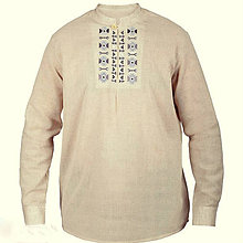 Oblečenie - vyšívaná ľanová košeľa Ivan - 7900498_