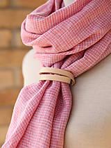 Šatky - Dámska ružová šatka z exkluzívneho francúzskeho ľanu - 7902034_