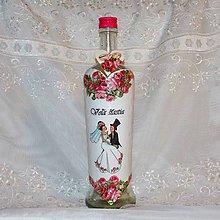 Nádoby - Darčeková fľaša k sobášu Ružičková láska - 7900438_