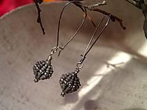 Náušnice - guličky korálikové sivasté - 7901443_