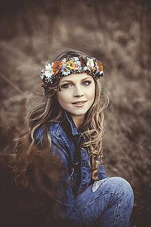 Ozdoby do vlasov - Pestrofarebný kvetinový venček - 7901811_