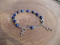 - ruženec na ruku z Lapis Lazuli fazetovaného, chirurgická oceľ - 7903719_