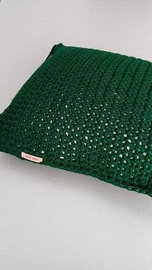 Úžitkový textil - Háčkovaná obliečka na vankúš - tmavozelená - 7899088_
