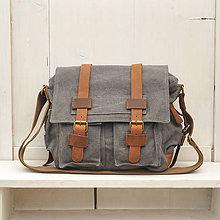 Iné tašky - Unisexová taška s kožou - šedá - 7901472_