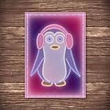 Grafika - Grafické vianočné svietidlo tučniak - klapky na uši - 7903818_