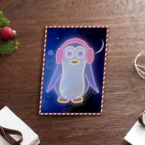 Grafické vianočné svietidlo tučniak - klapky na uši