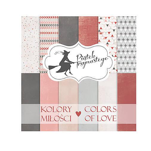 Sada obojstranných pevných papierov 30,5x30,5cm Piątek 13 - Colors of love