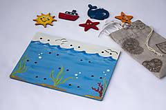 Detské doplnky - Prišívacia hračka - Tabuľka morský svet - 7905069_
