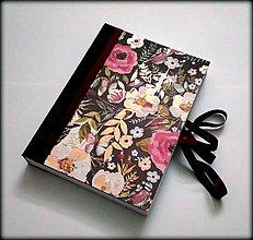 Papiernictvo - Ručne šitý denník/notes/zápisník/diár/náčrtník/skicár ,,Flower dream