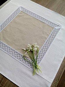 Úžitkový textil - Obrus s krajkou v prírodných odtieňoch - 7904861_