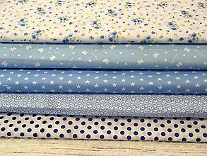 Textil - Bavlnené látky- modré - 7907986_