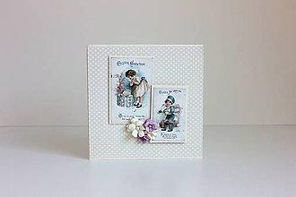 Papiernictvo - Veľkonočná pohľadnica dievčatká - 7904729_