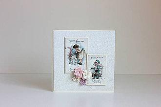 Papiernictvo - Veľkonočná pohľadnica dievčatká - 7904749_