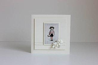 Papiernictvo - Veľkonočná pohľadnica smotanovo biela s dievčatkom - 7904786_