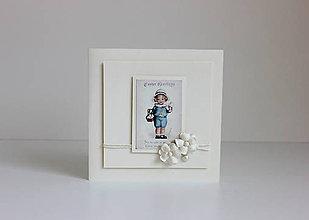 Papiernictvo - Veľkonočná pohľadnica smotanová s  chlapčekom - 7904787_