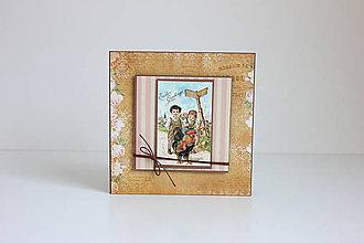 Papiernictvo - Veľkonočná pohľadnica deti s kohútikom - 7904898_