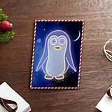 Grafika - Grafické vianočné svietidlo tučniak - 7907652_