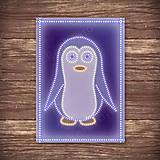 Grafika - Grafické vianočné svietidlo tučniak - 7907654_