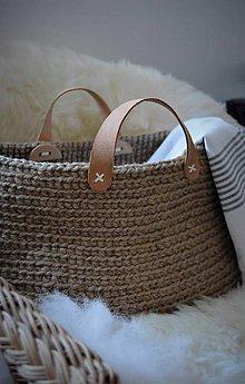 Košíky - Jutový kôš/taška s koženými úchytkami - 7906346_