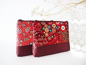 Taštičky - Kozmetická taška veľká - Klimt s vínovou - 7909923_