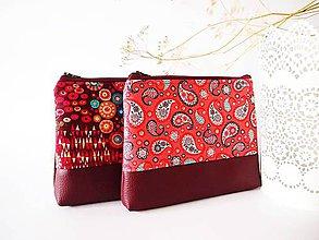 Taštičky - Kozmetická taška veľká-kašmírový vzor s lososovou - 7909967_
