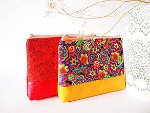 Taštičky - Kozmetická taška veľká-farebné hippie kvety - 7910977_
