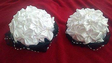 Kytice pre nevestu - Čierno-biela ikebana na svadobný stôl - 7908782_