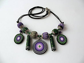 Náhrdelníky - náhrdelník,,Ultraviolet,, - 7912727_