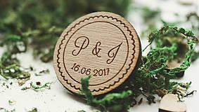 Darčeky pre svadobčanov - Drevená magnetka pre svadobčanov, 4 cm - 7909309_