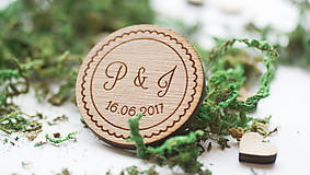 Darčeky pre svadobčanov - Drevená magnetka pre svadobčanov, 4 cm - 7909312_