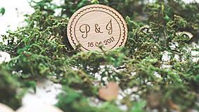 Darčeky pre svadobčanov - Drevená magnetka pre svadobčanov, 4 cm - 7909314_