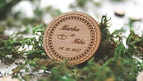 Darčeky pre svadobčanov - Drevená magnetka pre svadobčanov, 5 cm - 7910148_