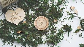 Drevená magnetka pre svadobčanov, 5,5 cm
