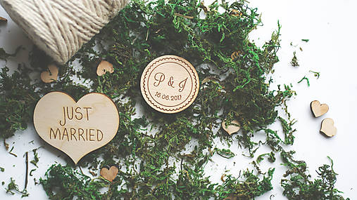 Drevená magnetka pre svadobčanov, 4 cm