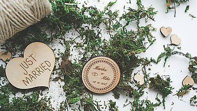 Darčeky pre svadobčanov - Drevená magnetka pre svadobčanov, 5 cm - 7910149_