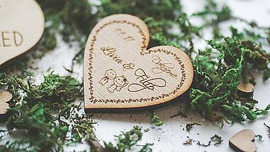 Darčeky pre svadobčanov - Drevená magnetka pre svadobčanov, srdce - 7910181_