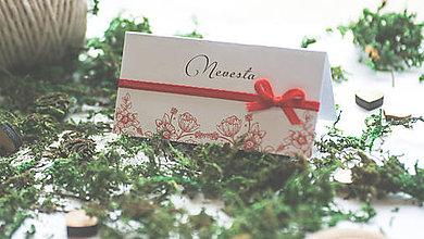 Papiernictvo - Menovka na svadobný stôl kvietky červené - 7910209_