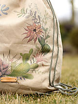 Batohy - Veľký ľanový batoh s ručnou maľbou