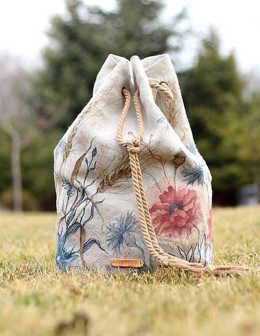 """Ručne maľovaný ľanový batoh """"Fleuri"""""""
