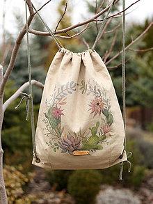 Batohy - Veľký ľanový batoh s ručnou maľbou \