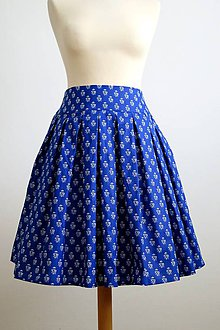 Sukne - modrá folk skladaná sukňa - 7912313_