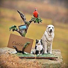 Socha - Stojan na vizitky - pes, mačka, papagáj - podľa fotografie - 7909803_
