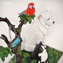 Socha - Súsošie pes, mačka, papagáj - stojan na vizitky - 7910063_