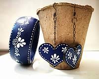 Sady šperkov - Set náušnice + náramok - Blue Folk - 7909529_