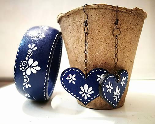 Set náušnice + náramok - Blue Folk